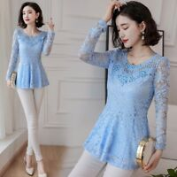 Ladies Lace Slim Peplum Ruffles Long Sleeve Shirt Skater Tops Blouse Hollow Out