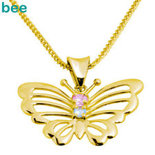 Pink Gemstone 9ct Solid Yellow Gold BUTTERFLY Pendant 64635