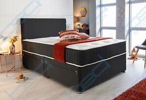 MEMORY FOAM FABRIC DIVAN BED SET WITH MATTRESS & HEADBOARD 3FT 4FT6 Double 5FT