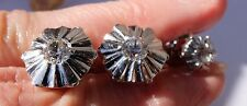 Vintage 18 K White Gold White Sapphires Art Deco WW Cuff links Tie Tac No Scrap