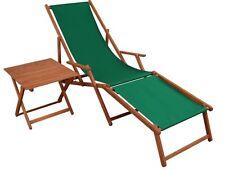 Chaise Longue Vert Partie de Pied Table Bois Transat pour Jardin Relaxliege
