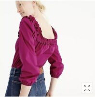 New J. Crew Ruffle Penny Top Blouse In Berry Size Medium