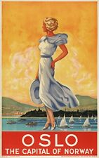 Vintage Travel Poster Oslo The Capital of Norway 37.4 x 24 inch