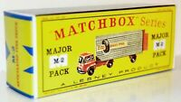 """Matchbox Lesney  M2  BEDFORD  """"DAVIES TYRES"""" FREIGHT   empty Repro D style Box"""