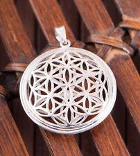 Blume des Lebens Anhänger Silber 925 3D gewölbt Meditation Silberschmuck