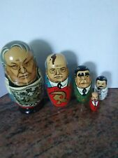 Vintage Russian Leaders Wooden Nesting Dolls Matryoshka set of 5 Soviet Union