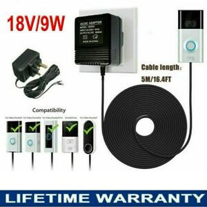 Power Supply Adapter For Video Ring Doorbell Transformer output 18V 5M Cable UK
