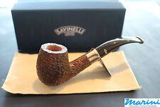 Pipa pipe pfeife Savinelli Caramella rusticata 670 curva scura con vera colorata