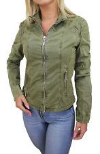 Diamond giacca giubbotto donna verde militare parka giubbino moto in cotone