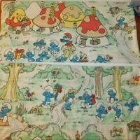 "VTG 80's SMURFS PEYO Twin Sheets Lot of 2 Flat Fabric ESMOND Canada 62""x96"""