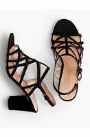 Talbots Bettie Cage City Sandals Shoes Black Kid Suede Leather New 9.5 $149