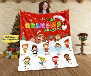Personalized This Grandma Belongs To Blanket, Grandpa Christmas Xmas Gifts