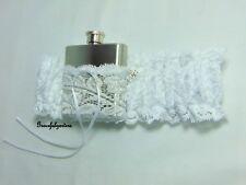 White Lace  hipflask Bridal Wedding garter. hip flask. new design, brides tipple