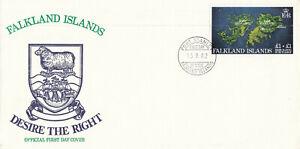 (85600) Falklands FDC £1 + £1 Rebuilding Surcharge Desire the Right 1982