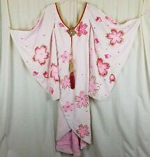 Furisode Kimono Japanese Vintage Geisha Dress Wedding Embroidered Pink Womens XS