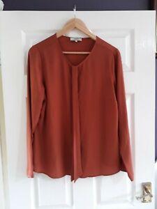 Papaya Weekend Rust Burnt Orange Blouse Size 14 Long Sleeves Floaty Workwear