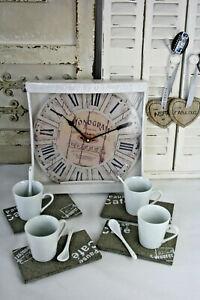 17 tlg Kaffe Set Tasse Löffel Tablett Wanduhr Anhänger Herz Keramik Glas Stein