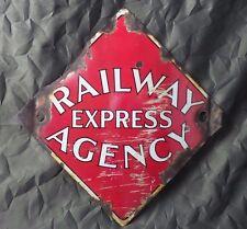 Antique Original PORCELAIN ENAMEL RAILWAY EXPRESS AGENCY SIGN Railroad Gas Oil