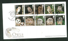 2018 FDC - Owls Set of 10  -Barn Owl Way  Dover Postmark sent post free