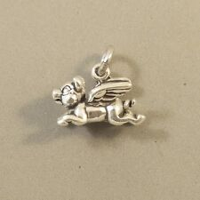 .925 Sterling Silver 3-D FLYING PIG CHARM NEW Pendant When Pigs Fly 925 AN118