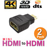 2 x Mini HDMI Male to Standard HDMI Female Adapter Gold Plated HDTV 4K 1080p 3D