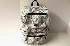 Betsey Johnson UNICORNS Backpack Black White Stripe Unicorn Charm Gold stars NWT