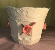Bloom-Rite white porcelain pottery flower pot/planter with raised pink roses