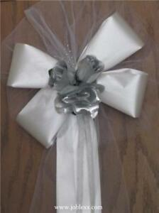 6 SILVER ROSES WHITE satin ribbon pew bows for occasions