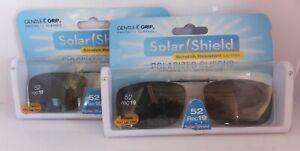 2 SOLAR SHIELD Clip-on Polarized Sunglasses 52 Rec 19 Gray Lens, For Metal Frame