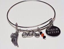 Harley-Davidson Inspired Biker Bitch Motorcycle & Wing Charm Swarovski Bracelet
