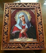 """ORTHODOX ICON, HAND MADE CARVING WOOD  BOTH SIDE Mother of God """"Tenderness"""""""