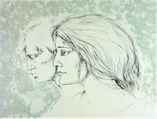 COUPLE PORTRAIT. ENGRAVING COLOR. SIGNED. MONTSERRAT GUDIOL. N.70-99. SPAIN.XXTH