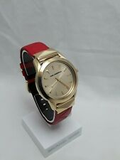 Karl Lagerfeld Labelle Stud Women's Gold Tone Red Leather Band Gold Dial KL3801