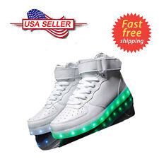Unisex White LED Light High Top Shoes Lace Up Luminous Men Women Sportswear
