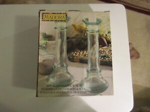 """Set of Madeira Candlesticks/Bud Vases 7"""" tall w/Candles- Green Tinted Glass"""