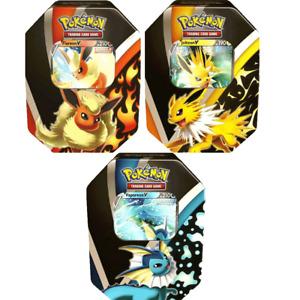 Pokemon Eevee Evolutions Tins All 3 Flareon Vaporeon and Jolteon