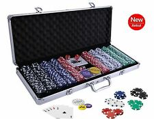Poker Chip Set 500pc Chips Casino Aluminum Case Cards Dice Texas Holdem Clay NEW