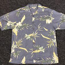 Vintage Tommy Bahama Relax Camp Hawaiian Shirt Floral Button 100% silk M Aloha
