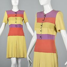 XS 30s Rayon Day Dress Vintage 1930s Casual Yellow Pink Stripe Drop Waist Casual