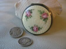Antique Silver Tone Yellow Guilloche Pink Floral Powder Puff Rouge Small Compact