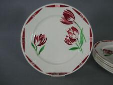 6 assiettes dessert Badonviller fleurs rouges