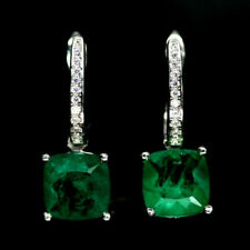 8x8mm FOREST GREEN DOUBLET EMERALD Natural Quartz 925 Silver Cushion EARRINGS