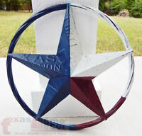 "12"" Texas Flag Barn Star Metal Embossed License Plate Western Wall Decor Rustic"