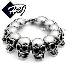 "9""BIKER MEN Stainless Steel HEAVY Silver Black Skull Face Head Link Bracelet*B75"