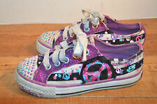GIRLS SKECHERS PEACE SIGN SPARKLE SNEAKERS SHOES size 12 med VERY NICE!