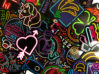 20 Random Colorful Neon Light Style Anime Skateboard Laptop Stickers Lot Bomb