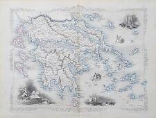 c1854 GREECE Genuine Antique Map by Rapkin Original Outline Hand Colouring