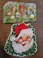 "Vintage Lot of 10 Placemats Santa Claus Vinyl Christmas Holiday 15.5"" X 15.5"" TC"