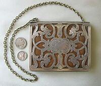Antique Art Nouveau Silver Frame Brown Leather Card Case Coin Purse Wallet