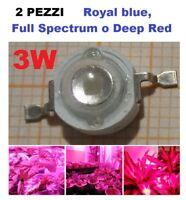 chip led 3W alta luminosità royal blue, full spectrum, deep red conf. da 2 pezzi